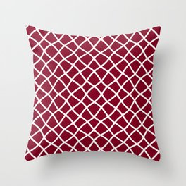Dark red and white curved grid pattern Throw Pillow