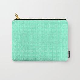 Aquamarine Interlocking Square Pattern Carry-All Pouch