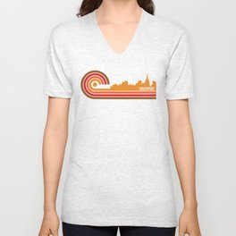 Retro Style Davenport Iowa Skyline Unisex V-Neck