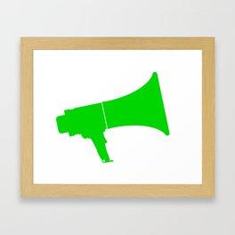 Green Isolated Megaphone Framed Art Print