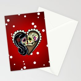 Ashes - Day of the Dead Couple - Kissing Sugar Skull Lovers Stationery Cards