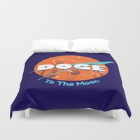 doge Duvet Covers featuring Doge Nasa Variant (To The Moon!) by Tabner's