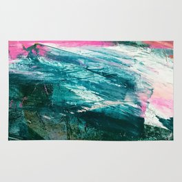Meditate [4]: a vibrant, colorful abstract piece in bright green, teal, pink, orange, and white Rug