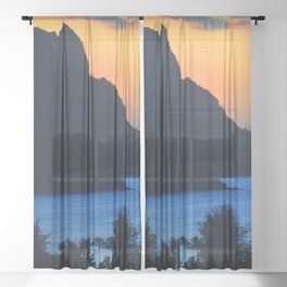 Tropical Splendor In Blue And Gold Sheer Curtain