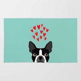 Boston Terrier - Hearts, Cute Funny Dog Cute Valentines Dog, Pet, Cute, Animal, Dog Love,  Rug
