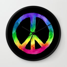 Rainbow Watercolor Peace Sign - Black Background Wall Clock