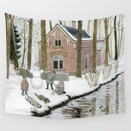 Children Building A Snowman Wall Tapestry