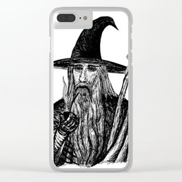 the gray wizard Clear iPhone Case