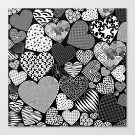 Love Hearts Doodle Art Pattern Canvas Print