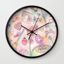 Famous Paris symbols pattern Wall Clock