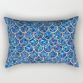 Sparkly Blue & Silver Glitter Mermaid Scales Rectangular Pillow