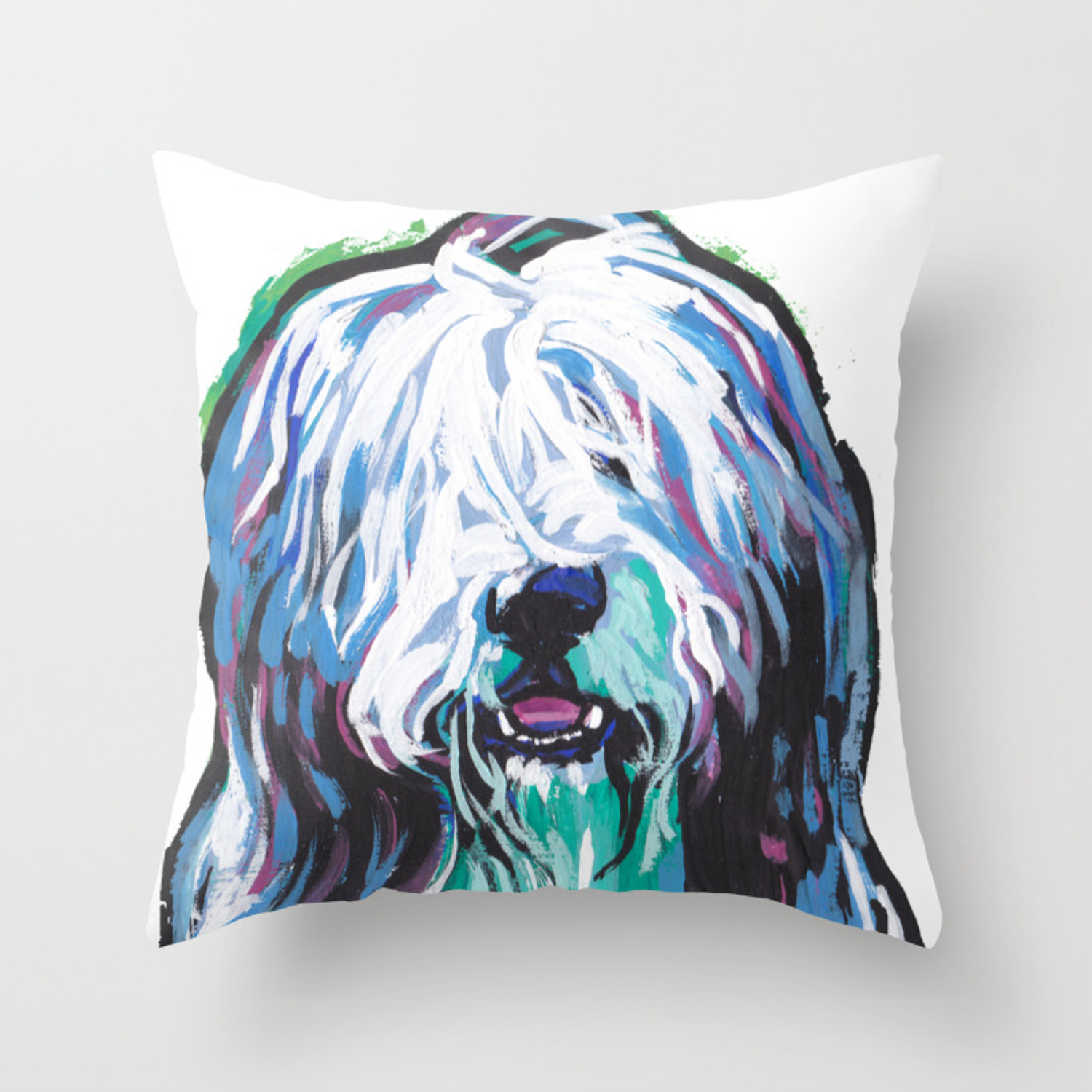 Fun Bearded Collie Dog Portrait Bright Colorful Pop Art Dog Painting By Lea Throw Pillow By Wilddogs Society6