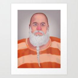 Mugshot Santa Claus Art Print