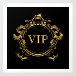 VIP In Black and Goldtone Art Print