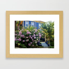 Blue With Yellow Trim House Framed Art Print