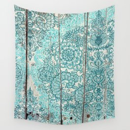 Teal & Aqua Botanical Doodle on Weathered Wood Wall Tapestry