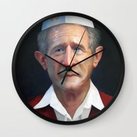 fries Wall Clocks featuring Freedom Fries by Jaime Margary