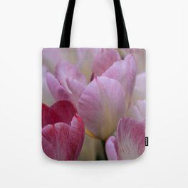 White And PinkTulip Flowers Tote Bag