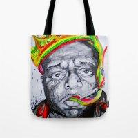 biggie smalls Tote Bags featuring Biggie Smalls by Liam Reading