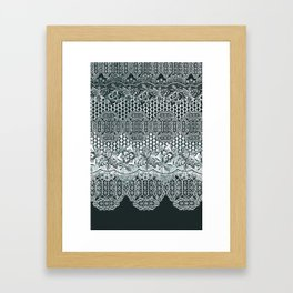 lace border with floral and geo mix monochrome Framed Art Print