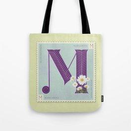 Sellos Naturales. Letter M. Flower: Margarita Tote Bag