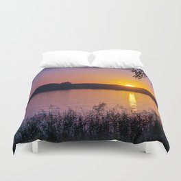 Beautiful sunset over the lake Duvet Cover
