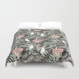 Exotic birds in the dark of the jungle Duvet Cover
