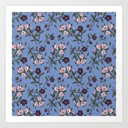 Hellebores on Blue Art Print