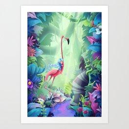 Girl & Flamingo Art Print