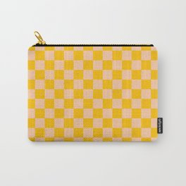 Deep Peach Orange and Amber Orange Checkerboard Carry-All Pouch