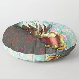 kawaii chibi dark elf with a cat Floor Pillow
