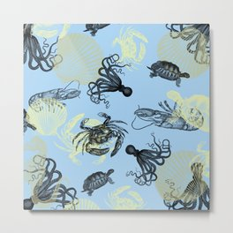 Vintage Sea Creatures Metal Print
