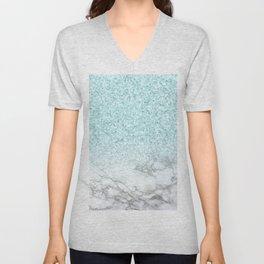 Turquoise Sea Mermaid Glitter Marble Unisex V-Neck