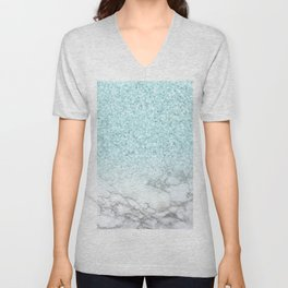 Turquoise Sea Mermaid Glitter Marble Unisex V-Neck