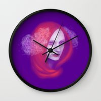 peony Wall Clocks featuring Peony by Ulfvidh