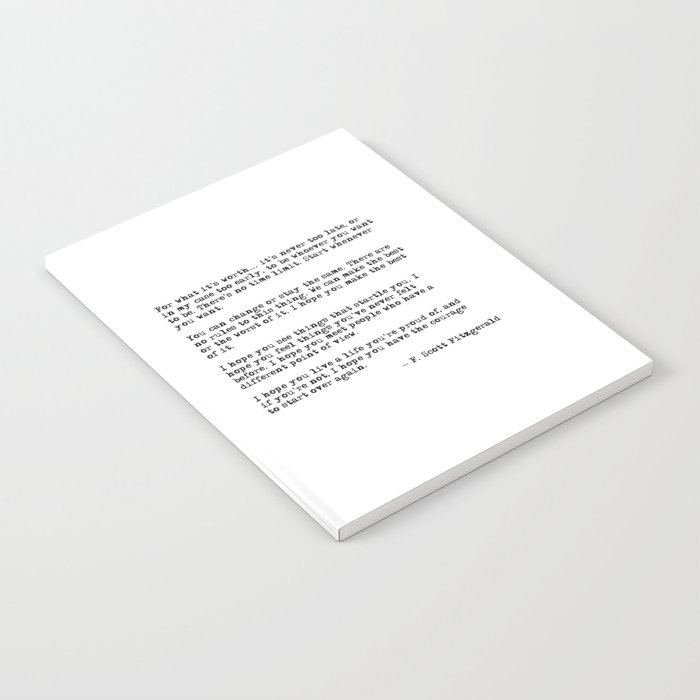 For what it's worth - F Scott Fitzgerald quote Notebook