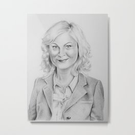 """Leslie Knope"" from Parks and Recreation Amy Poehler Traditional Pencil Portrait Metal Print"