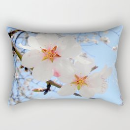 plum tree blossoms closeup Rectangular Pillow