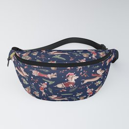 Dachshund in the snow on blue Fanny Pack