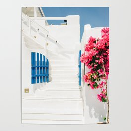 Colorful Blue Gate and White Staircases in Oia Santorini Island Greece Poster