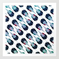 arya Art Prints featuring Graphic Pattern - Geometric, Spacey, Angled by Hinal Arya