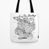 brooklyn Tote Bags featuring Brooklyn Map by Claire Lordon