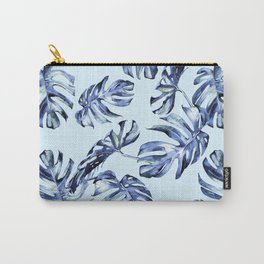 Tropical Palm Leaves Blue Carry-All Pouch