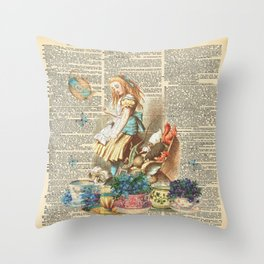 Vintage Alice In Wonderland on a Dictionary Page Throw Pillow