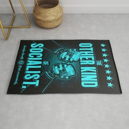 """Vintage """"The Other Kind of Socialist"""" Alcoholic Lithograph Advertisement poster in Blue Rug"""