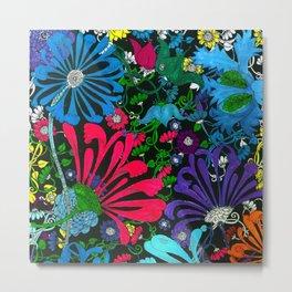 BLUE-RED-PURPLE MUMS FLOWER GARDEN Metal Print