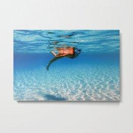 Beautiful Women Snorkeling in the Tropical Sea, Underwater Sandy Bottom Metal Print