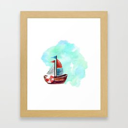 Ship in the Watercolor Framed Art Print