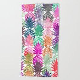 Bright exotic pineapples pastel watercolor pattern Beach Towel