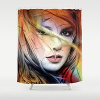 britney spears Shower Curtains featuring  britney spears  by mark ashkenazi